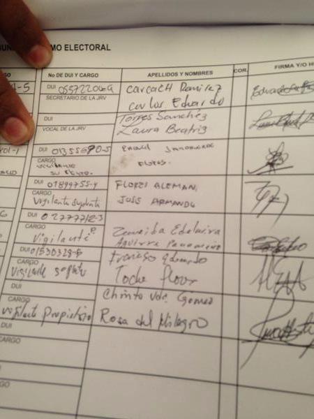 Armando Flores firmó como vigilante suplente de la JRV. Flores admitió que lo era. / DEM