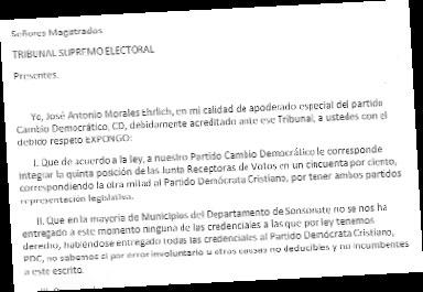 Cambio Democrático exige que Tribunal Supremo Electoral anule las credenciales que emitió en 13 municipios de Sonsonate. Denuncia que éstas fueron entregadas arbitrariamente al PDC. / CORTESÍA CD