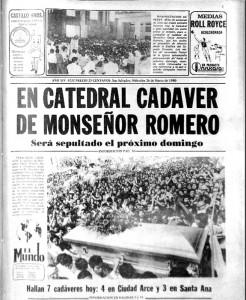 PORTADA HISTÓRICA. Miles de personas acudieron a la basílica Sagrado Corazón a una misa de cuerpo presente oficiada el 25 de marzo de 1980, tras el crimen del arzobispo Romero. Papa Juan Pablo II condenó el crimen.