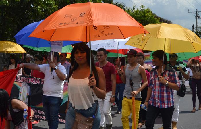 Miembros de la comunidad LGBTI marcharon ayer por varias calles del Centro de Gobierno, en San Salvador. / DEM
