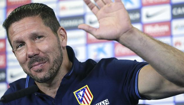 El entrenador del Atlético de Madrid, el argentino Diego Simeone, durante la rueda de prensa ofrecida esta mañana. EFE