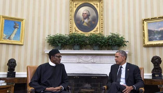 Presidente de Nigeria Muhammadu Buhari junto a Barack Obama. Foto/EFE