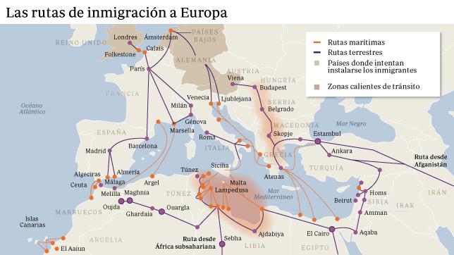 Los expertos consultados señalan dos principales caminos: el del Mediterráneo Central por Libia, el más peligroso y mortífero, y el de Grecia y Balcanes por Turquía, el más numeroso. Imagen por ABC.