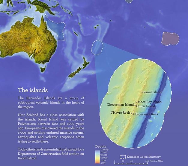 """WEL236. WELLINGTON (NUEVA ZELANDA), 28/09/2015.- Imagen cedida hoy, lunes 28 de septiembre de 2015 por el ministerio de Ambiente de Nueva Zelanda que muestra la ubicaciÛn y detalles del ·rea de las islas Kermadec en el ocÈano PacÌfico. Nueva Zelanda crear· un santuario marino de 620.000 kilÛmetros cuadrados en la regiÛn de Kermadec, considerada una de las ˙ltimas fronteras salvajes del planeta, informaron hoy fuentes oficiales. """"El Santuario Oce·nico Kermadec ser· una de las ·reas totalmente protegidas m·s grandes e importantes del mundo"""", dijo el primer ministro, John Key, en la Asamblea General de la ONU, seg˙n un comunicado de prensa de su oficina en Wellington. El santuario, que prohibir· dentro de Èl todo tipo de actividad pesquera y minera, """"cubrir· el 15 por ciento de la Zona EconÛmica Exclusiva neozelandesa, un ·rea que duplica el tamaÒo de nuestro territorio terrestre"""", indicÛ Key. EFE/CortesÌa ministerio de Ambiente de Nueva Zelanda/SOLO USO EDITORIAL/NO VENTAS"""