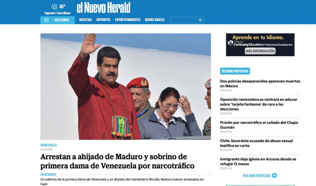 Captura de pantalla de la noticia difundida en un periódico internacional.