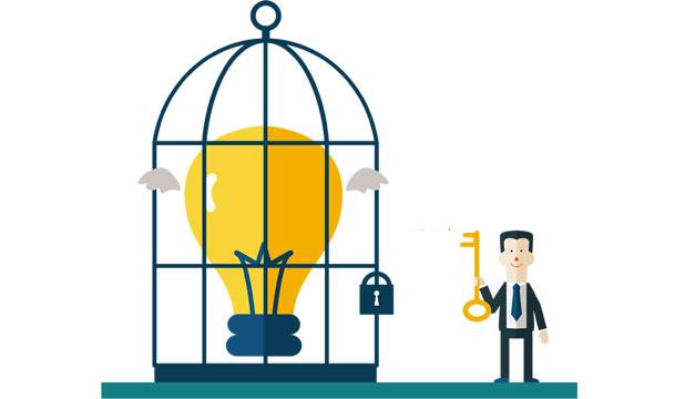 Emprendedores-economia-jaula-foco-llave