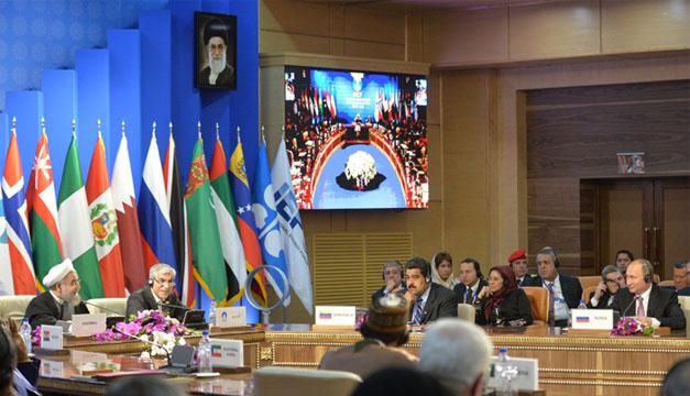 El presidente iraní, Hasán Rohaní, junto con su homólogo ruso Vladimir Putin y el venezolano Nicolás Maduro. EFE
