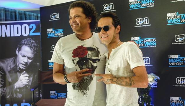 El colombiano Carlos Vives y el salsero puertorriqueño Marc Anthony. EFE