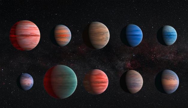 Impresión artísitica de los diez exoplanetas de Júpiter caliente. EFE