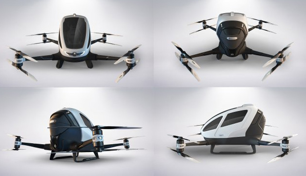 Dron tripulado de la compañía china Ehang. Foto: EFE