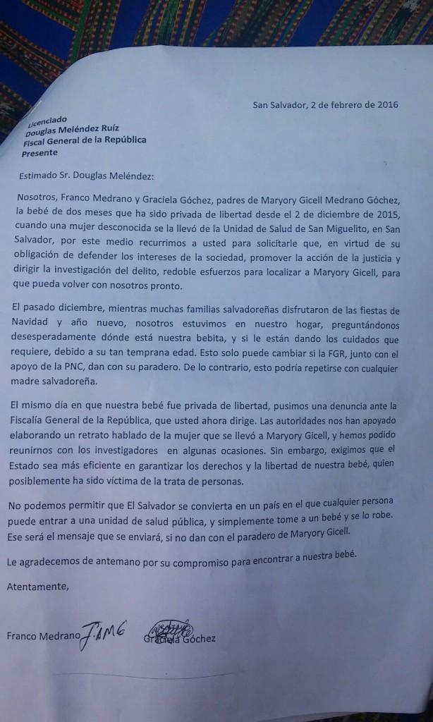 Carta presentada a la FGR/DEM