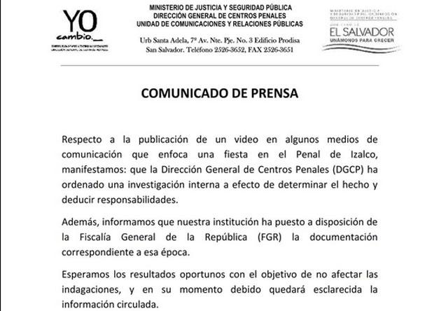 Comunicado-Ministerio-de-Seguridad-baile-en-penal-de-Izalco