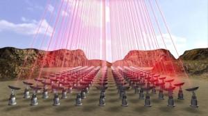 BREA01 - (---) 13/04/2016.- Captura de un video facilitado por Breakthrough Initiatives el 13 de abril de 2016 que muestra un grupo de rayos láser que apuntan a una nave espacial ultraligera (fuera de imagen). El astrofísico Stephen Hawking presentó ayer, 12 de abril de 2016, en Nueva York un proyecto de exploración del Universo que incluye un nuevo modelo de sonda espacial y con el que promete alcanzar el sistema estelar más cercano al nuestro, Alfa Centauri. La dirección del proyecto estará encabezada por Stephen Hawking junto a Yuri Milner y el fundador de Facebook, Mark Zuckerberg, que se unió a última hora al proyecto, según explicó Milner. EFE/- SÓLO USO EDITORIAL/PROHIBIDA SU VENTA