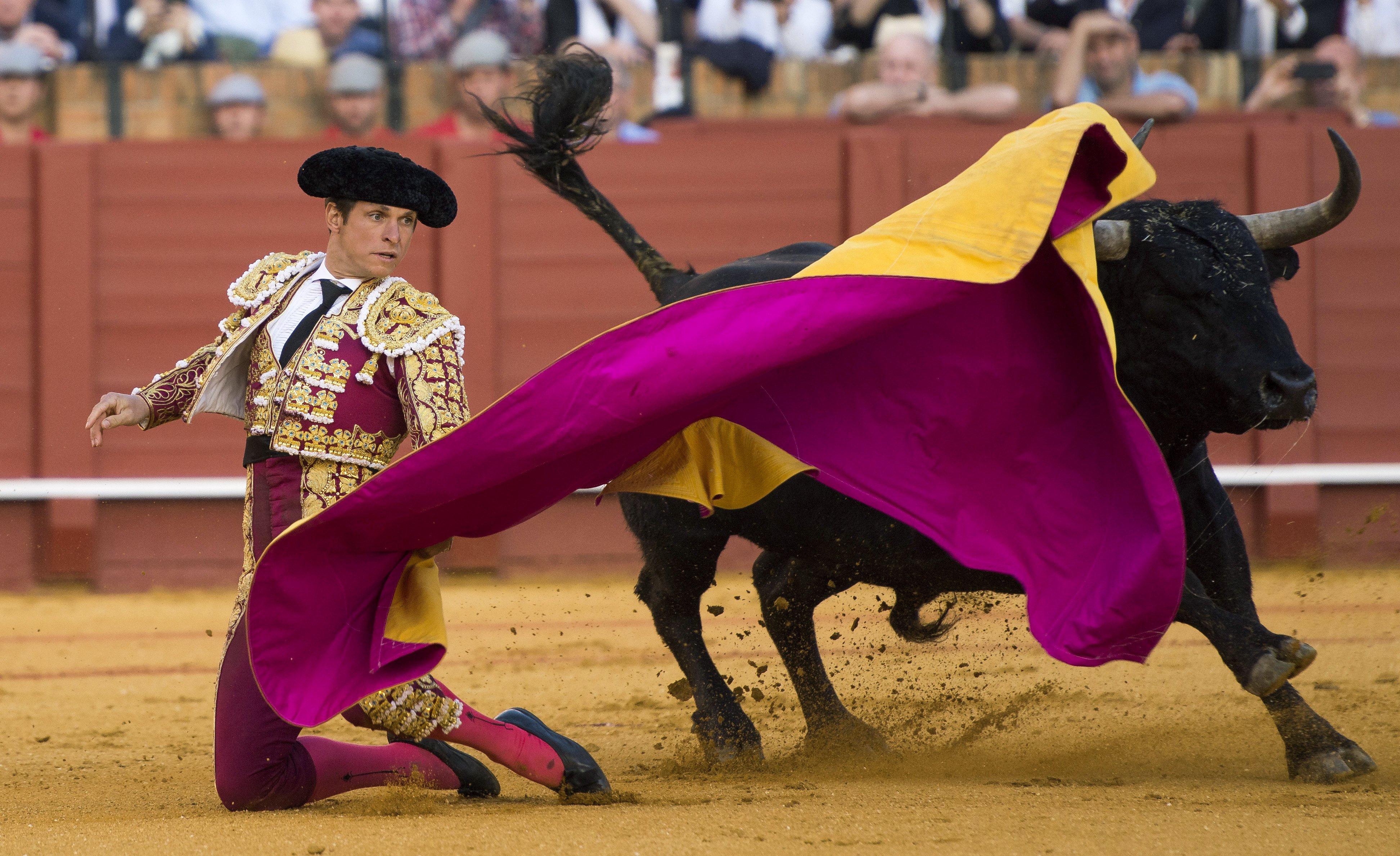 """GRA475. SEVILLA, 08/04/2016.- El diestro Julian López """"El Juli"""" recibe a portagayola a su segundo toro durante la séptima corrida de abono de la Feria de Abril, en la comparte cartel con Morante de la Puebla y Miguel Ángel Perera, que lidiarán toros de Victoriano del Río, en la plaza sevillana de La Maestranza. EFE/Raul Caro Cadenas"""