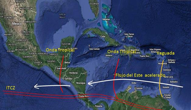 Fotografía: Mapa de fenómenos Atmosfericos cercanos a Centroamérica (MARN).