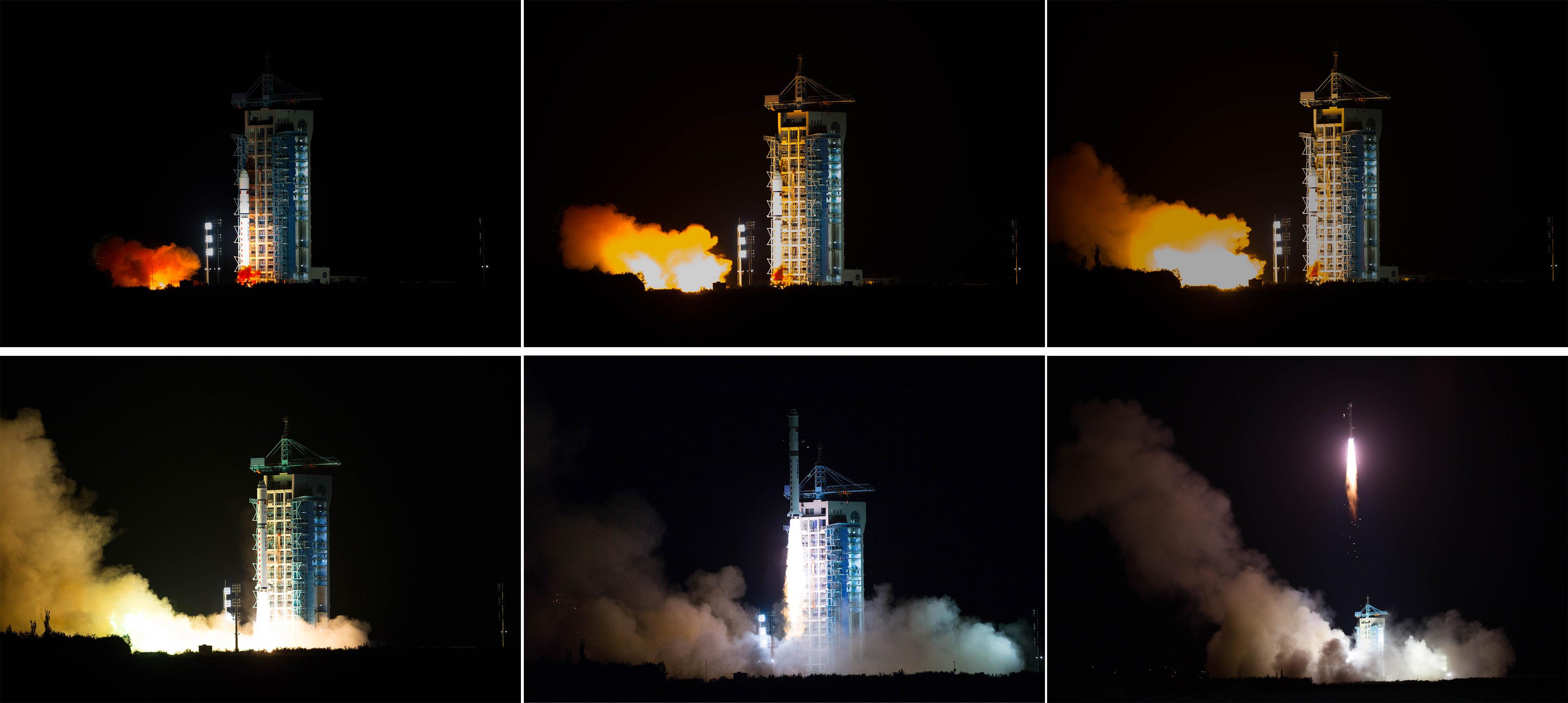 (160816) -- GANSU, agosto 16, 2016 (Xinhua) -- Imagen combinada del lanzamiento del primer satélite de comunicación cuántica del mundo sobre un cohete Gran Marcha-2D desde el Centro de Lanzamiento de Satélites de Jiuquan, en Jiuquan, en la provincia de Gansu, en el noroeste de China, el 16 de agosto de 2016. China lanzó con éxito el primer satélite de comunicación cuántica con un cohete Gran Marcha 2D desde el Centro de Lanzamiento de Satélites de Jiuquan en el desierto de Gobi, en el noroeste de China, a las 01:40 del martes. (Xinhua/Jin Liwang) (rtg) (vf)