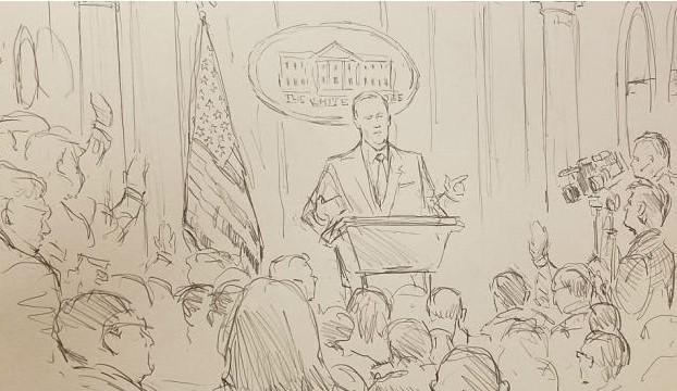 CNN envía dibujante a rueda de prensa de la Casa Blanca