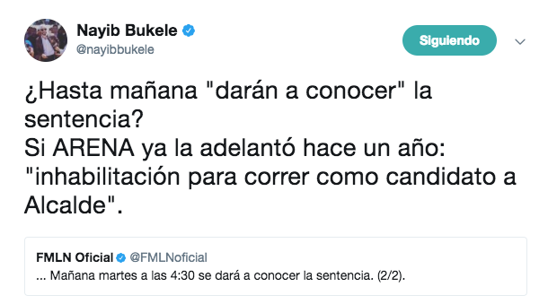 Tribunal de Ética del FMLN encuentra culpable a Nayib Bukele