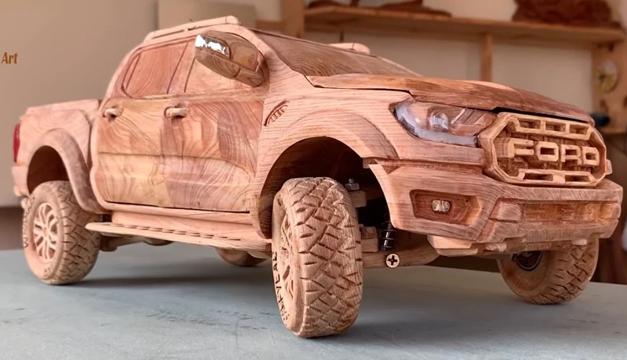 Video: Youtuber recrea una camioneta Ford Ranger Raptor en madera
