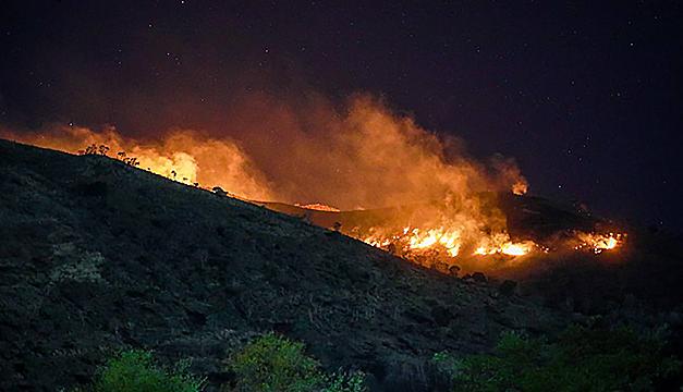 Bomberos y voluntarios buscan frenar avance de dos graves incendios en Nejapa y San Blas