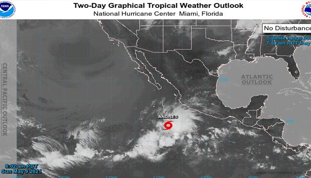 Tormenta tropical Andrés adelanta temporada de huracanes en océano Pacífico