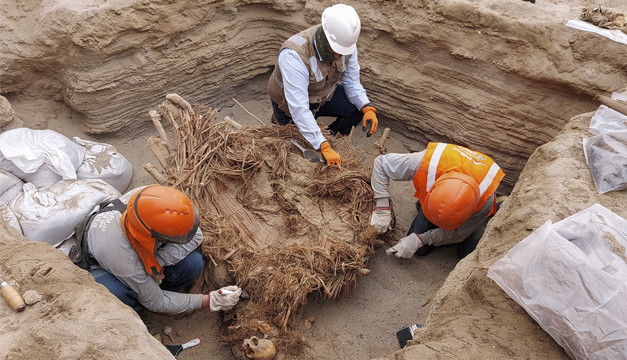 Hallan restos humanos de 800 años de antigüedad en Perú